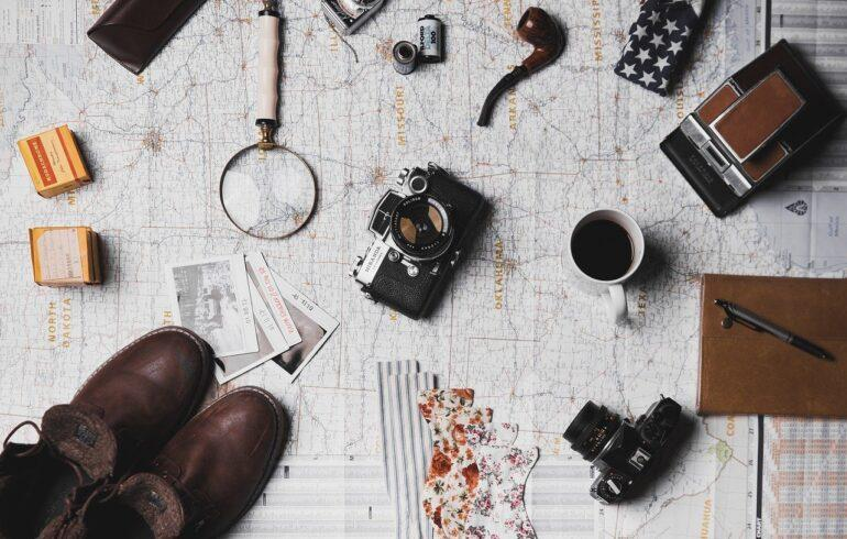 map, microscope, coffee